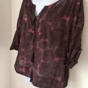 J. Crew Abstract Print Studded Popover Tunic